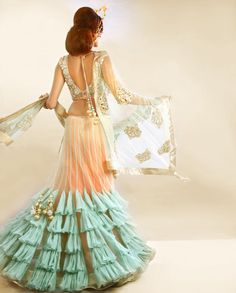 Blush Peach Lengha Set with Sea Green Ruffles- Buy Lenghas,Best of Payal Singhal,Lenghas Online | Exclusively.in