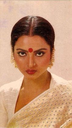 Actress Rekha in Pearl Ear Accessories www.addiga.com