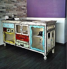 Furniture Dishfunctional Designs: Upcycled Dressers: Painted, Wallpapered & Decoupaged pt 2 Common M Decor, Chic Furniture, Shabby Chic Dresser, Redo Furniture, Painted Furniture, Furniture Diy, Refinishing Furniture, Upcycle Dresser, Furniture Inspiration