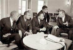 Roy Wilkins, James Farmer, Martin Luther King & Whitney Young meet with Pres. Johnson.
