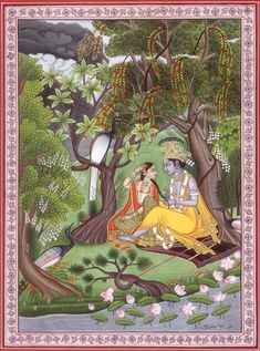 Radha Krishna in the Garden of Love, Hindu Water Color on PaperArtist Kailash Raj Pichwai Paintings, Mughal Paintings, Indian Art Paintings, Madhubani Art, Madhubani Painting, Señor Krishna, Lord Krishna, Indian Traditional Paintings, Rajasthani Painting
