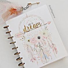 """Happy Planner COVER: Watercolor Dreamcatcher, Feathers, Arrows, & Florals with Gold Foiled """"Dare To Dream"""", 10-mil Laminated Cover"""