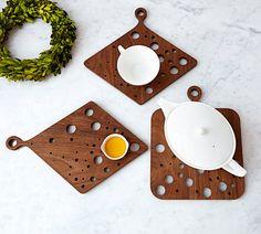 AHeirloom's Kitchen Trivet in Walnut with Dots by AHeirloom