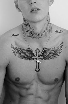 Discover these meaningful cross tattoos that will express your Christian beliefs and honour God. Cross With Wings Tattoo, Simple Cross Tattoo, Cross Tattoo For Men, Cross Tattoo Designs, Tattoo Designs Men, Hand Tattoos, Forarm Tattoos, Sleeve Tattoos, Wing Tattoo Men