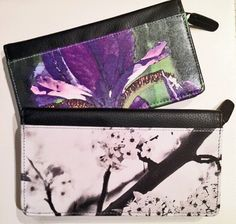 LEATHER CHECKBOOK WALLET - Women's Zippered Accessory - Floral - Abstract Photography. Shown in Black Cherry and Purple Iris Images. by MyTuChi on Etsy https://www.etsy.com/listing/211905930/leather-checkbook-wallet-womens-zippered