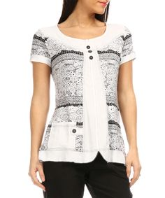 Love this S'quise White & Black Floral Scoop Neck Top - Plus Too by S'quise on #zulily! #zulilyfinds