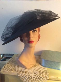 19f0210302c Vintage 1940s Hat Black Straw Cartwheel Style With A Swirl Of 1940s Hats