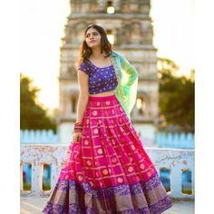 Lehenga Color ; Pink ,Blouse Color ; Blue,Dupatta Color ; Light Green ,Work ; Embroidered