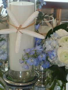 Beach Eco Rustic Shabby Chic Blue Silver White Centerpiece Wedding Flowers Photos & Pictures - WeddingWire.com