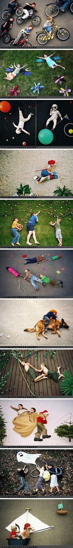 Auf dem Boden liegend werden auf einmal ganz neue Motive möglich! #kinder #foto #idee