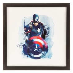 Captain America Watercolor Black Framed Gallery Wall Art⎜Open Road Brands
