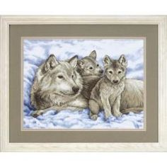 Mother Wolf And Pups Stamped Cross Stitch Kit-16
