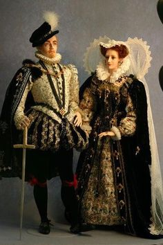 Darnley and Mary Stuart, dolls beautifully crafted by Victoria Cairns, Lady of Finavon Ooak Dolls, Barbie Dolls, Art Dolls, Reborn Dolls, Reborn Babies, Paper Dolls, Historical Costume, Historical Clothing, Costume Renaissance