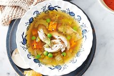 Slow-cooker French-style chicken soup Dust off that slow cooker and dive into this rustic soup, hearty enough to satisfy on a cold winter's night. Slow Cooked Chicken, Slow Cooked Meals, Slow Cooker Recipes, Cooking Recipes, Crockpot Recipes, Easy Cooking, Healthy Cooking, Curry Recipes, Vegetarian Recipes