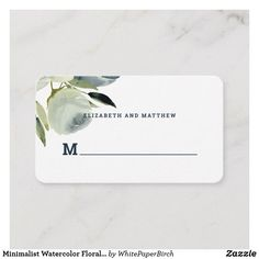 Shop Minimalist Watercolor Floral Wedding Place Card created by WhitePaperBirch. Wedding Places, Wedding Place Cards, Wedding Reception Decorations, Wedding Table, Modern Typography, Business Card Size, Floral Flowers, Watercolor Flowers, Gifts For Dad