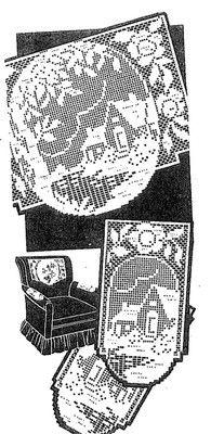 Vintage Chair Set Pattern 7166 Home in Garden in Filet Crochet 1960s