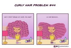 I Create Comics Based On Curly Hair Problems Curly Hair Jokes, Curly Hair Tips, Curly Hair Styles, Natural Hair Styles, Curly Hair Cartoon, Curly Girl Problems, Tall Girl Problems, Afro, Biracial Hair