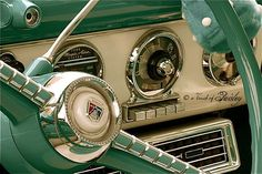 CLASSIC CAR: Fairlane Crown Victoria Ford-O-Matic Dashboard and Steering Wheel - 8x12 Fine Art Metallic Photograph, Guy Gifts For Him