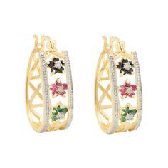 .25 Carat TW Ruby, Sapphire, Emerald Flower Hoop Earrings In Sterling Silver Gold Plated (IJ-I2-I3), Women's, Light Gold