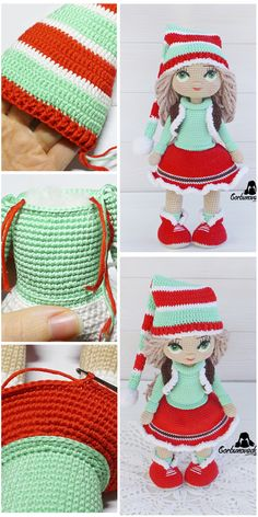 Crochet Doll Pattern - Amigurumi Doll for Merry Christmas, stuffed doll pattern, amigurumi doll pdf, diy amigurumi doll, diy crochet pattern Diy Crochet Patterns, Crochet Doll Pattern, Doll Patterns, Knitting Patterns, Crochet Eyes, Knit Or Crochet, Crochet Hooks, Christmas Crafts, Christmas Decorations