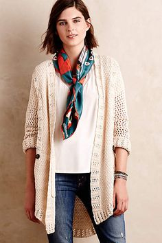 Angel of North Knit Sweater from Anthropologie. Super versatile and comfortable knit, beige sweater from Anthropologie. You can roll the sleeves up or keep them down - goes with jeans or dresses. Look Kimono, Kimono Cardigan, Beige Sweater, Pretty Outfits, Pretty Clothes, Beautiful Clothes, Sweater Outfits, What To Wear, Anthropologie