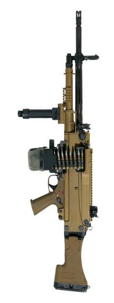 An updated and improved - general purpose machine gun manufactured by Heckler & Koch with 50 round belt in drum (or 120 round belt in separate box). Big Guns, Cool Guns, Awesome Guns, Rifles, Light Machine Gun, Machine Guns, Airsoft, Fire Powers, Assault Rifle