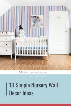 Creating the perfect space for your baby, that is both stylish and functional can be challenging! Here are 10 simple nursery wall mural ideas that will inspire you | Limitless Walls - Premium Wall Murals Mural Ideas, Decor Ideas, One Bedroom, Bedroom Decor, Nursery Wall Murals, Bamboo Wall, Custom Wall, Baby Boy Nurseries, Baby Decor