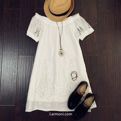 Off-Shoulder Cut-Out Lace Embroidery Dress