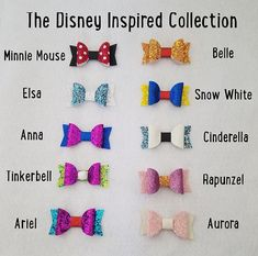 Disney inspirado a arco colección - Disney-chicas arcos-niño bebé arcos arcos - Disney inspirado - Headbands & bows - Princess Hair Bows, Girl Hair Bows, Girls Bows, Diy Valentine's Hair Bows, Handmade Hair Bows, Ribbon Hair Bows, Disney Hair Bows, Disneyland, Bow Template