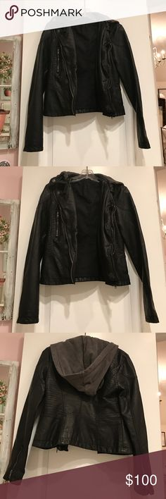 Free People Hooded Faux Leather Moto Jacket Never worn. Perfect for day to night styles. A removable hood, intentionally rumpled silhouette and tons of seamed details. Free People Jackets & Coats
