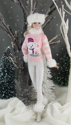 FROSTY PINK Sweater Set for 11 12 dolls