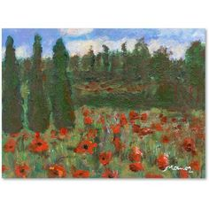 Trademark Fine Art Red Poppies in the Wood Canvas Art by Manor Shadian, Size: 18 x 24, Multicolor