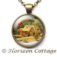 Santa's Sleigh Christmas House Snow Globe Effect by HorizonCottage