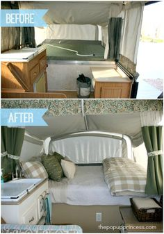 Pop Up Camper Remodel: Before and After pictures of our 1999 Coleman pop up camper makeover.
