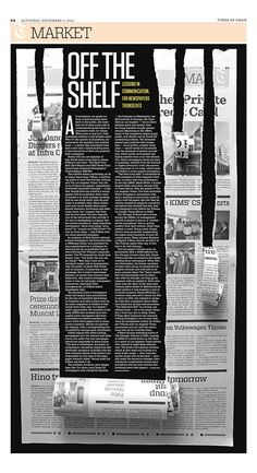 This is a really interesting layout. The design takes up the whole page so there isn't any empty space. The layout is spaced well and lots of articles fit on to the page. Over all the best thing about the design is the creative aspect of it. Newspaper Design Layout, Page Layout Design, Poster Design Layout, Magazine Layout Design, Graphic Design Layouts, Print Layout, Book Design, Editorial Design Inspiration, Editorial Layout