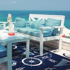 Outdoor nautical area rug nautical rugs, nautical home, coastal decor, coas Nautical Rugs, Coastal Rugs, Nautical Home, Coastal Decor, Coastal Living, Coastal Bedrooms, Coastal Style, Porches, Deco Surf