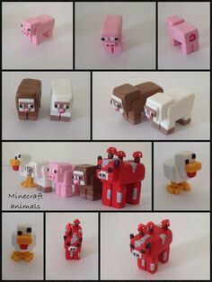 Minecraft clay charm ideas - Katy, this is your challenge for Christmas.chicken or mooshroom will do Polymer Clay Miniatures, Polymer Clay Creations, Polymer Clay Crafts, Diy Clay, Minecraft Cake Toppers, Minecraft Birthday Cake, Cake Birthday, Minecraft Clay Charms, Minecraft Crafts