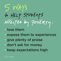 Edutopia community member MMcClain has compiled a list of easy tips she has learned in her years of teaching to help encourage teachers working with students effected by generational poverty.
