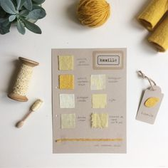 In my dye journal: chamomile (in Dutch: kamille). Wool felt, organic linen, antique linen, organic cotton, silk, etamine de laine and wool. Natural Dye Fabric, Natural Dyeing, Textiles, Chor, How To Dye Fabric, Sewing Techniques, Arts And Crafts, Place Card Holders, Crafty