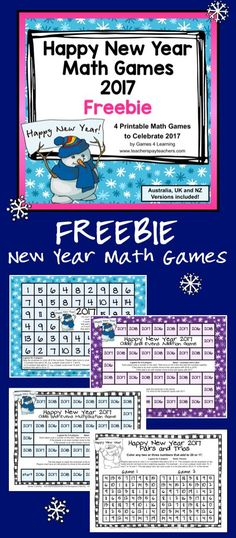 FREEBIE: New Years 2017 Math Games is a set of 4 math board games by Games 4 Learning to celebrate the start of the 2017 New Year!