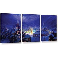 ArtWall Philip Straub Christmas Town 3-Piece Gallery-Wrapped Canvas Set, Size: 24 x 48, Purple