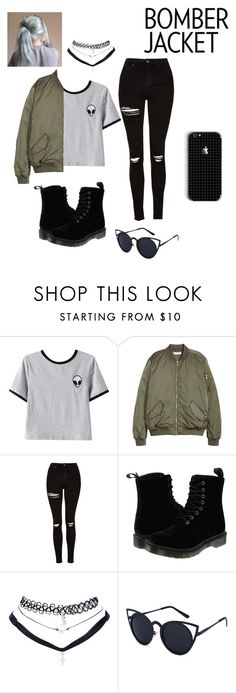 """""""Grunge look"""" by empezet ❤ liked on Polyvore featuring Chicnova Fashion, Topshop, Dr. Martens, Wet Seal and bomberjackets"""