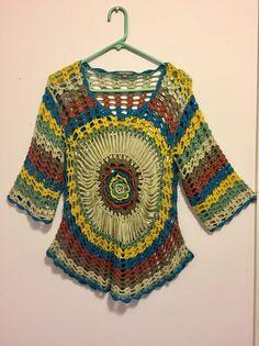 Roz & Ali Unique Circular Design Loose Knit Sweater L/XL  | eBay