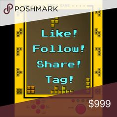 MAXED OUT! FOLLOW GAME Pt 6! FOLLOW! SHARE! TAG! JOIN ME! Let's all gain more followers and make happy connections! =D  1. LIKE THIS LISTING 2. FOLLOW ALL POSHERS who have liked this 3. SHARE THIS LISTING with your followers as much as you can 4. TAG 3 OTHER POSHERS  ~*WATCH YOUR FOLLOWERS GROW BY THE DAY!*~   {{LET'S HELP EACH OTHER REACH ALL OUR FOLLOW GOALS! *HELP ME REACH 150K!*}} Find my 5 other follow games here in my closet, maxed out at 600 likes, but you can still benefit from…