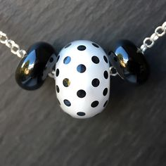 Lampwork glass 'Black & White' Little Something Necklace | by Beads By Laura