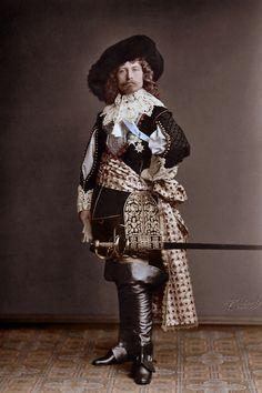Kaiser Wilhelm II posing in costume of a muskateer, 1885