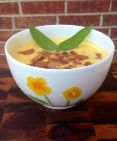 Paleo butternut squash soup with bacon