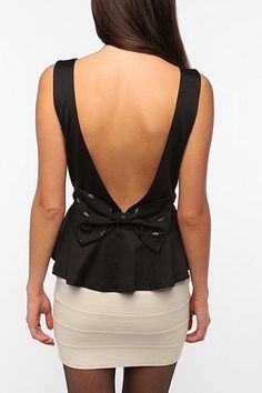 Pins and Needles Bow Back Peplum Tank Top. want. real bad