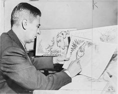 """Dr Seuss drawing the original Grinch Dr. Seuss (real name Ted Geisel) at 53 years of age in 1957 drawing an early version of the Grinch for his yet to be released book """"The Grinch Who Stole Christmas"""". Dr. Seuss, Der Grinch, Grinch Stole Christmas, Dr Seuss Drawings, Dr Seuss Stories, History For Kids, History Pics, Green Eggs And Ham, Writing A Book"""