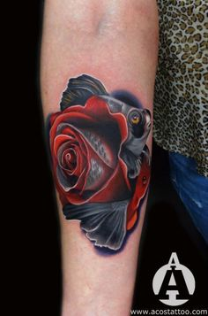 Fish/Rose tattoo.Andres Acosta.